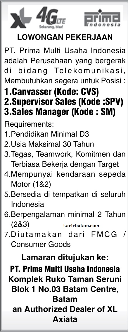 Lowongan Kerja PT. Prima Multi usaha Indonesia