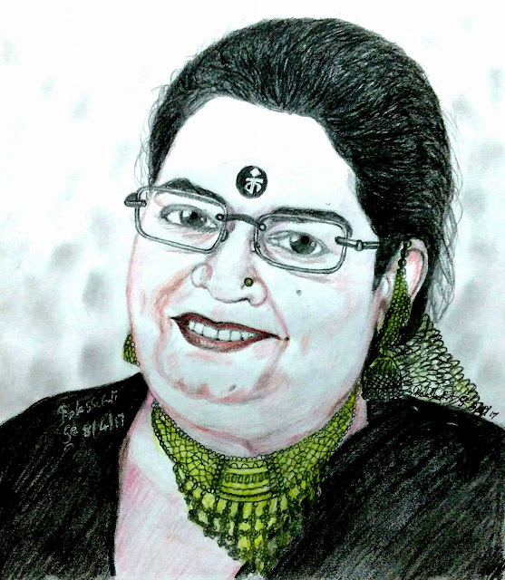 PENCIL DRAWING - Padmashree Usha Uthup