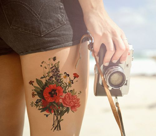 Beautiful Thigh Flower Tattoos