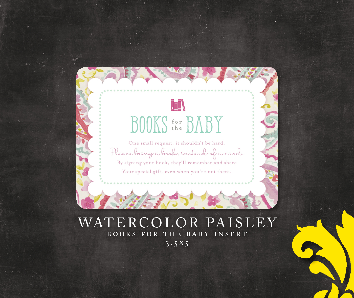 Nealon design watercolor paisley baby shower invitation i love how it turned out and hope the mother to be loves it as well the optional books for the baby insert is also available in my etsy store filmwisefo
