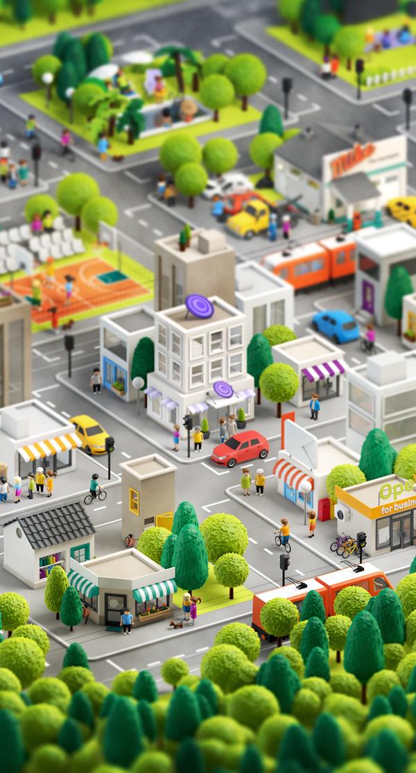 Ciudad 3D por Anna Paschenko