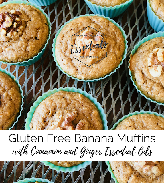 gluten free dairy free banana muffins with doTERRA cinnamon and ginger essential oils from www.mywholefoodfamily.com