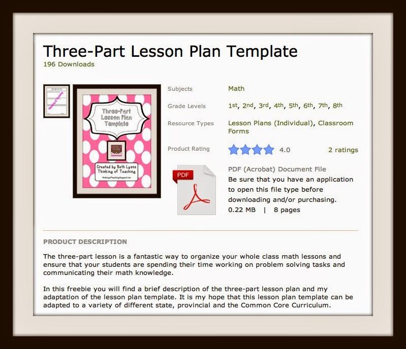 3 Part Lesson Plan Template Costumepartyrun