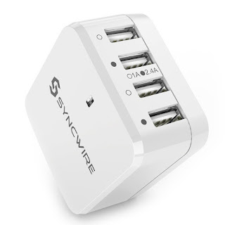 SPECIAL OFFER USB Charger Plug Syncwire 4-Port Wall Charger (International Power Adapters) : £12.99