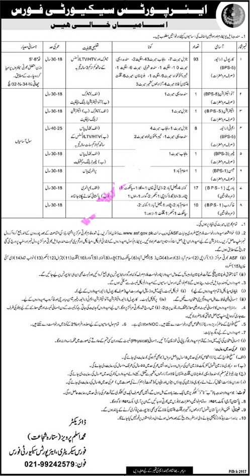 Airport Security Force ASF Jobs 2019 - www.asf.gov.pk