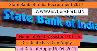 State Bank of India Recruitment 2017 – Assistant Officer