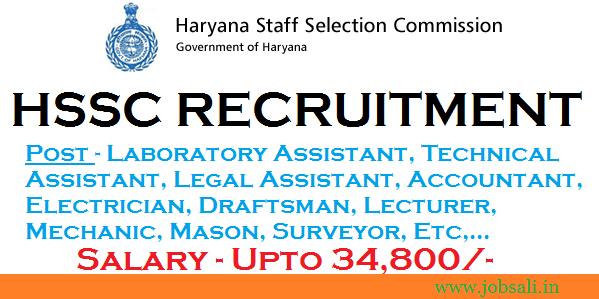 HSSC Recruitment 2017, Govt jobs in Chandigarh, Govt jobs in Haryana