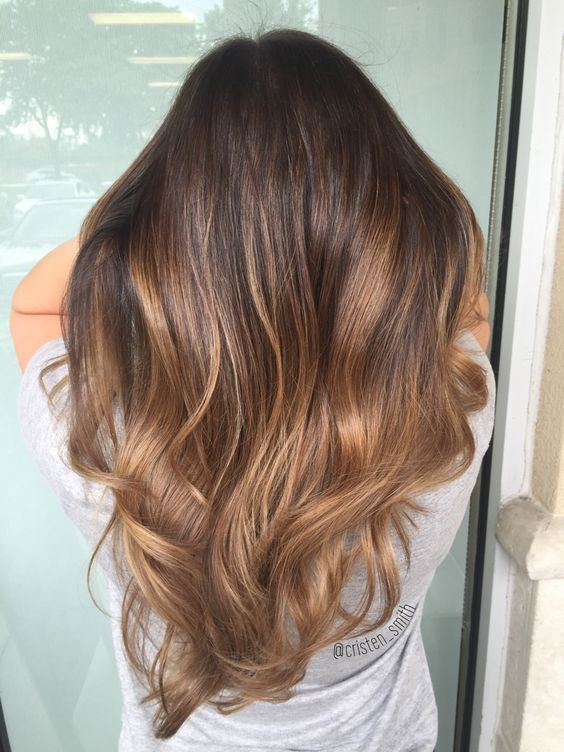 chocolate brown hair with caramel balayage highlights