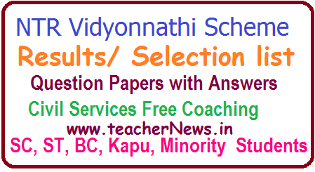 NTR Vidyonnathi Results/ Merit/ Selection list 2017 Exam Answer Key @ ntrvidyonnathi.org