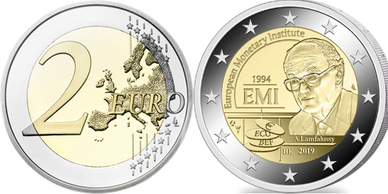 Belgium bimetallic 2 euro 2019 25 years of the European Monetary Institute