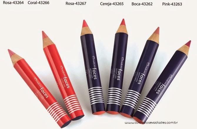 batons e gloss em formato de lápis Natura