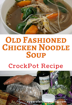 Make homemade chicken and noodle soup in your crockpot slow cooker the easy way.  There is nothing more soothing than a bowl full of chicken noodle soup.  I love how you can use a rotisserie chicken carcass to make the broth -- what a great way to use up the bones and leftover meat!
