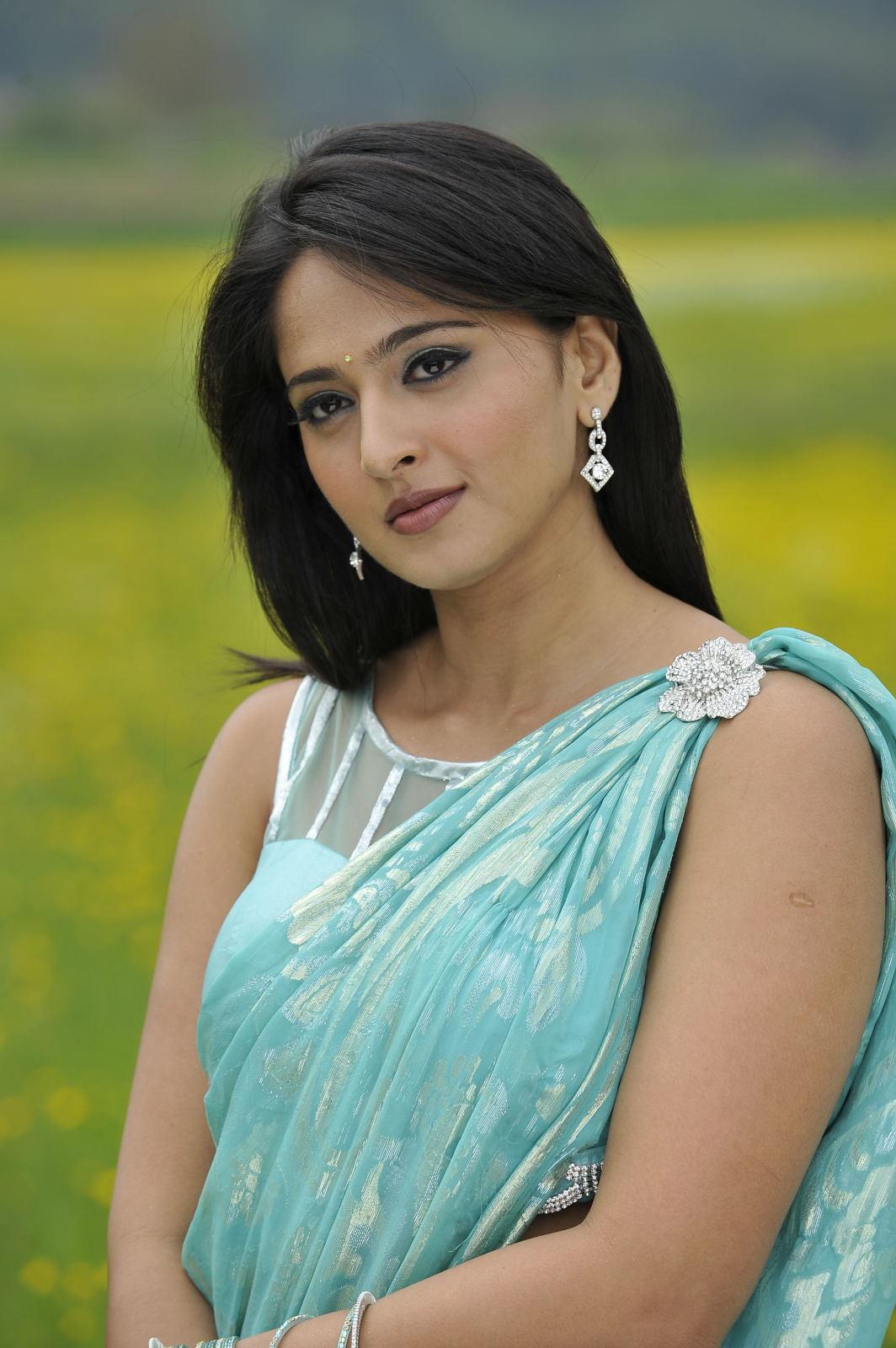 Anushka Shetty Hot Hip Photos In Blue Saree 2016