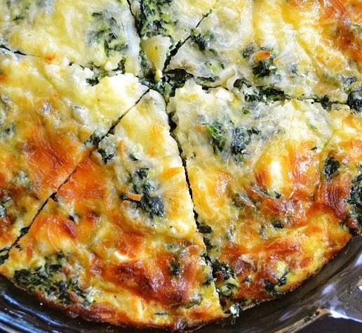 SPINACH MUSHROOM AND FETA CRUSTLESS QUICHE #Vegetarian #Glutenfree