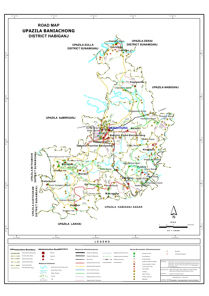 Baniachong Upazila Road Map Habiganj District Bangladesh