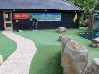 Playing Hole One at the new Maidenhead Adventure Golf course