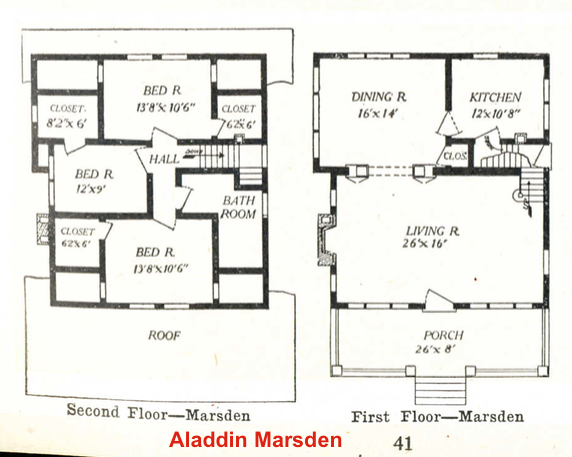 Aladdin Marsden catalog floor plan 1917