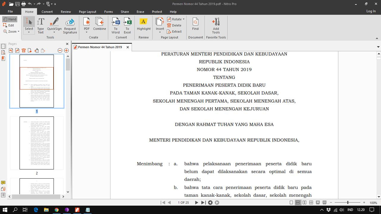 Juknis PPDB Zonasi Tahun 2020-2021 (Permendikbud nomor 44 tahun 2019)