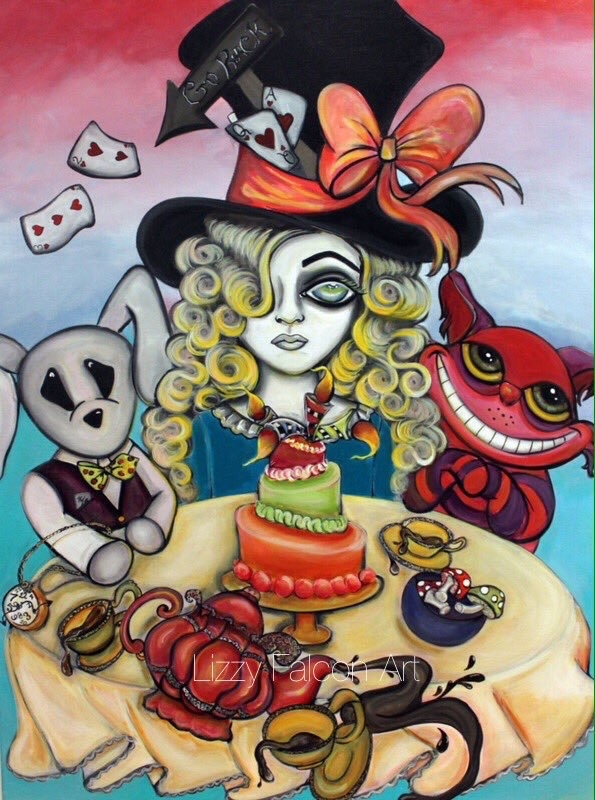 01-Alice-in-Wonderland-Lizzy-Falcon-Paintings-with-Large-Eyes-and-Big-Personalities-www-designstack-co