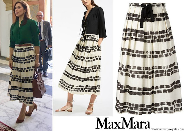 Crown Princess Mary wore max mara brushstroke print pleated skirt