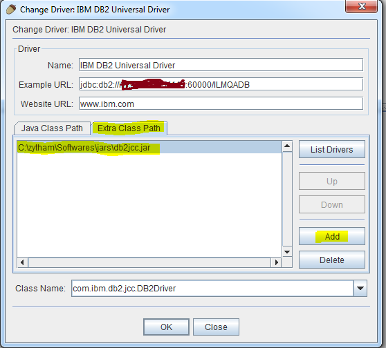 Configuration SQuirreL SQL Client for DB2 database : Execute