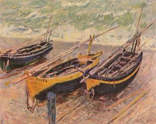 """Tres Barcos Pesqueros"" de Claude Monet"