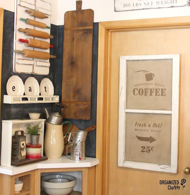 """Old Sign Stencils """"Coffee"""" Window Screen organizedclutter.net"""