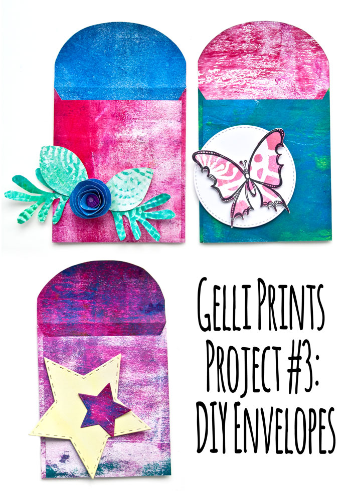 Gelli Prints Project #3: DIY Envelopes, with a video by Kim Dellow