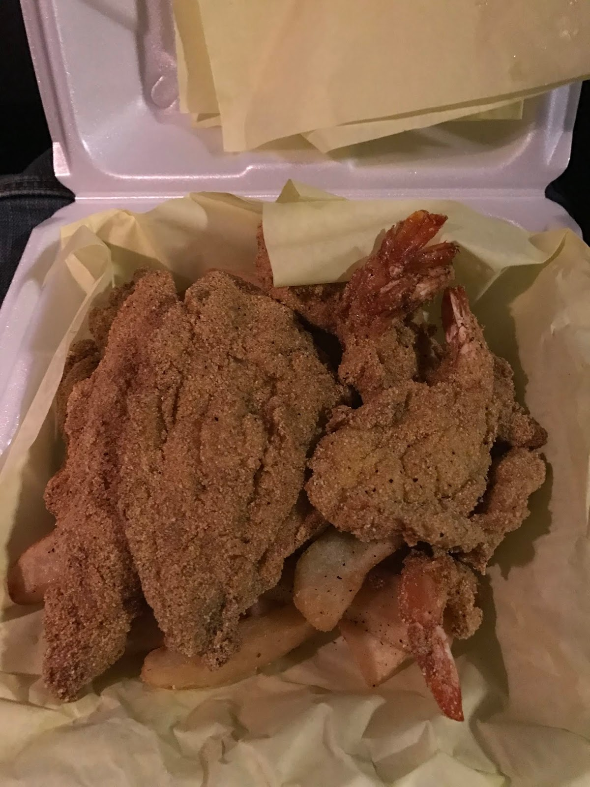 Image: Fried Fish and shrimp. Example of eating healthy and working out