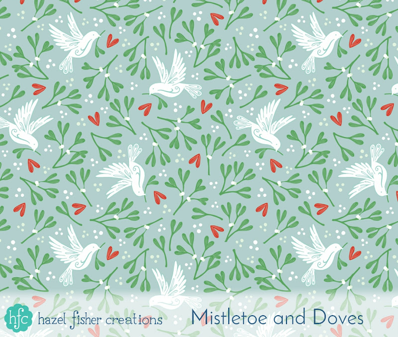 Spoonflower Ditsy Mistletoe design challenge - my Mistletoe and Dove design by Hazel Fisher Creations