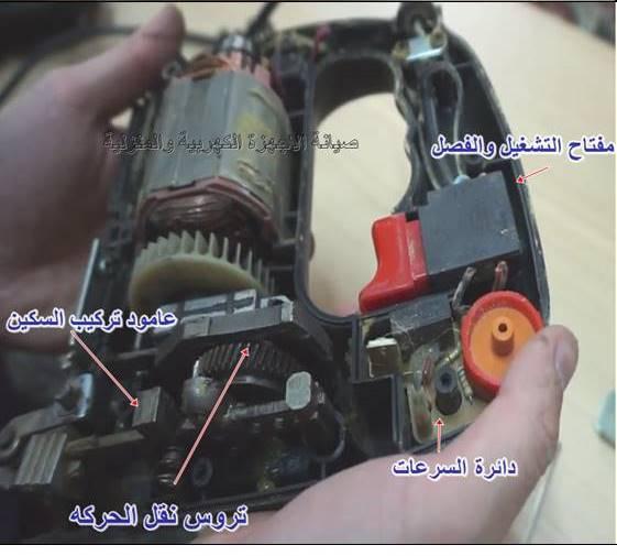 اجزاء المنشار الكهربائي الداخلية