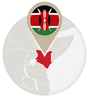 Kenyan flag and map