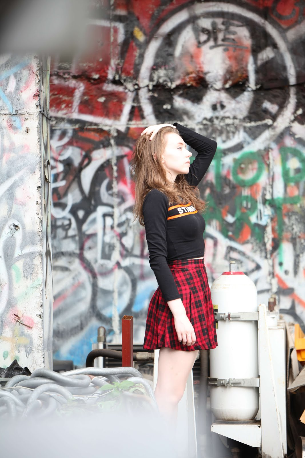 grunge tennis skirt outfit seoul fashion blogger disused theme park photoshoot