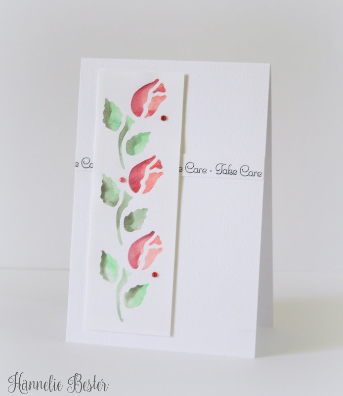 watercolored and stenciled card