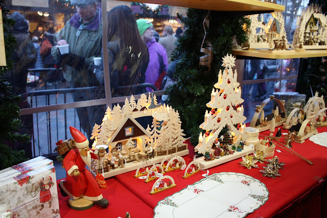 Intricate woodwork crafted in Germany is awe inspiring at Christkindlmarket in Naperville, IL.