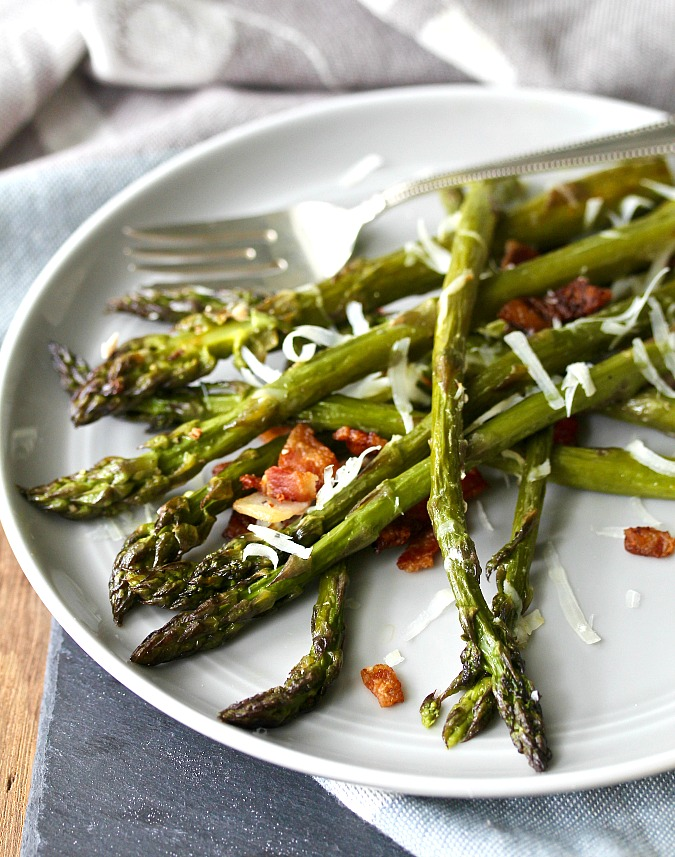 Roasted Asparagus with Bacon on a plate