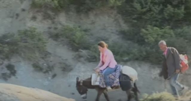 Albanian teacher on donkey