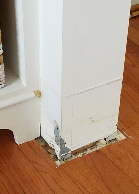 Don't install hardwood floors without removing the baseboards! ugly gap