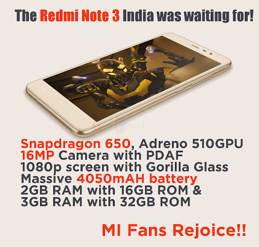 Redmi Note 3 with Snapdragon 650, 16MP camera, 4000mAH battery coming to India!