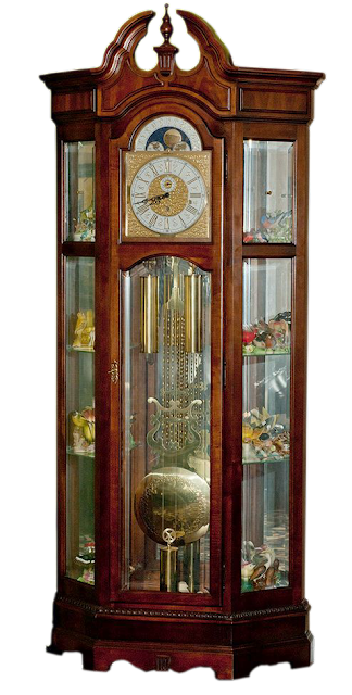 A large grandfather clock with large brass pendulum, mirrors, and glass shelving.