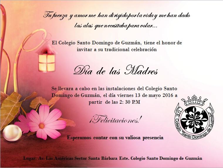 Invitacion DÍa De Las Madres RegiÓn: Tarjetas De Invitacion Dia De La Madre Santo Domingo De