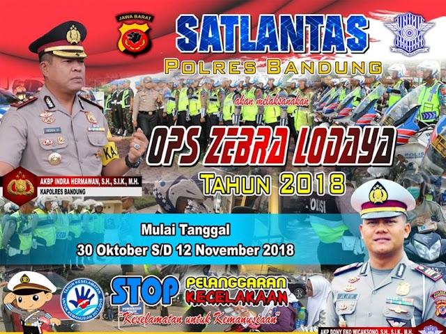 Operasi Zebra Lodaya Bakal Digelar 30 Oktober - 12 November 2018
