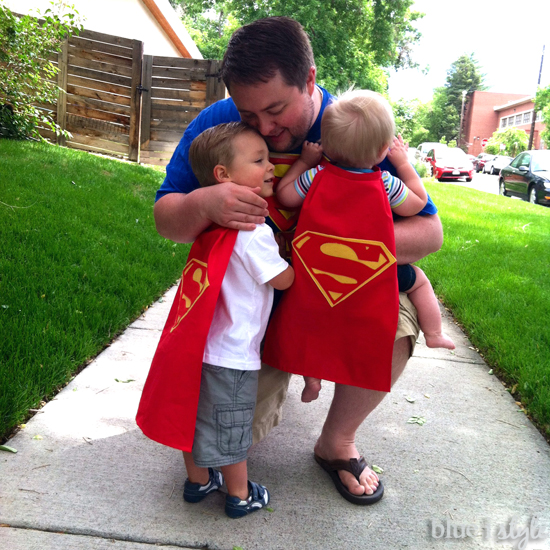 Father and son Superman photo shoot