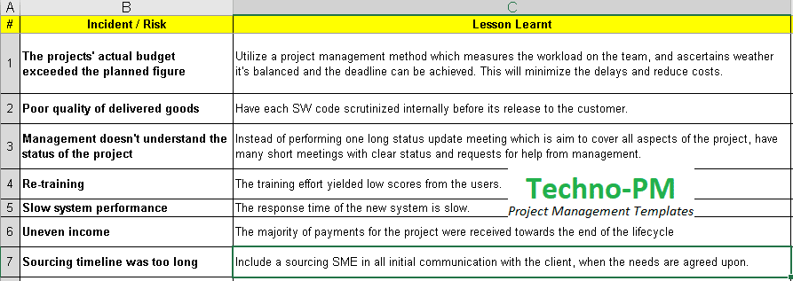 Lessons Learned Template Excel Download - Free Project Management ...