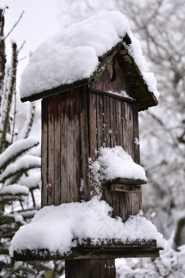 The snowy shed out back with many other snow pictures and stories via Funky Junk Interiors