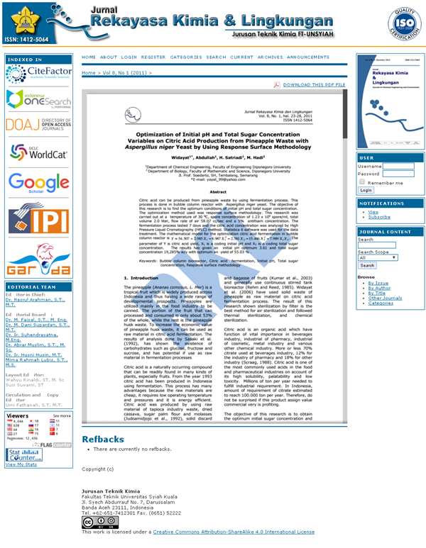 Jurnal Rekayasa Kimia & Lingkungan, Unsyiah