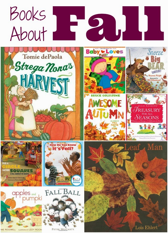 Children's books about fall review list. Choices for toddlers, preschoolers, and older children. Brief reviews of each!
