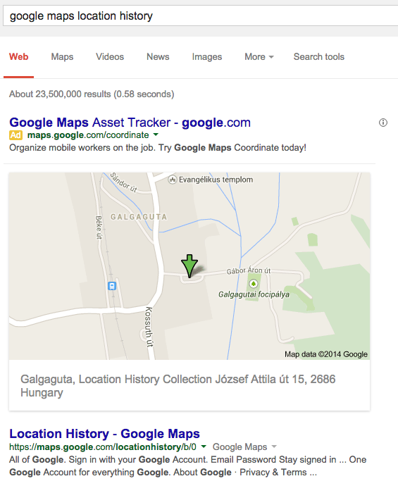 Obscure Google Maps Results - Google map location history