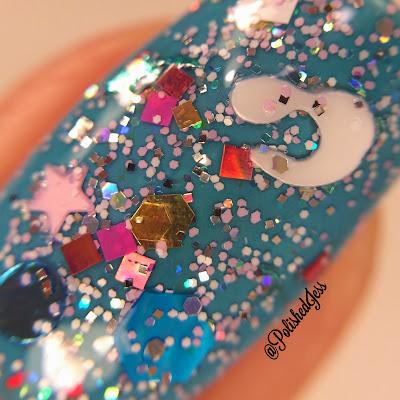 Cotton Candy Bubble Bath Glitter Lambs Nail Polish Swatched By @PolishedJess