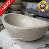 Wastafel marmer tulungagung oval asli batualam diameter 40 cm